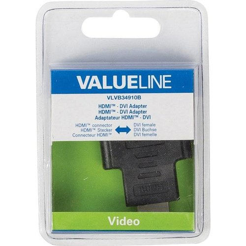 Valueline VLVB34910B HDMI connector DVI-I 24+5p Vrouwelijk Zwart kabeladapter/verloopstukje