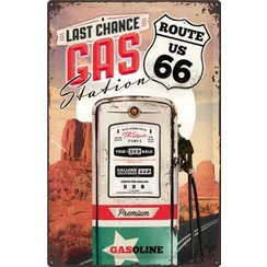 Route 66 - Last Change Gas StationMetalen wandbord in reliëf 40x60 cm