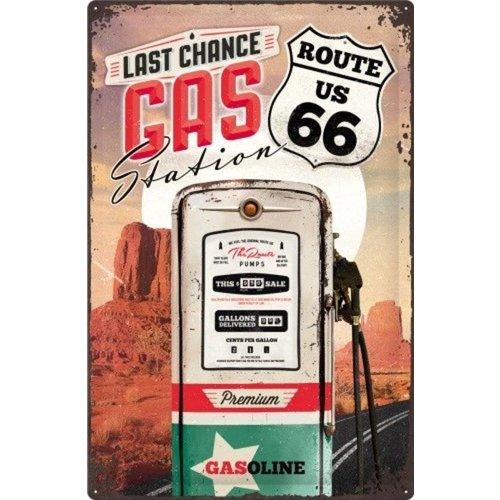 nostalgic art Route 66 - Last Change Gas StationMetalen wandbord in reliëf 40x60 cm