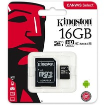 Kingston micro SD kaart 16GB + SD-adapter