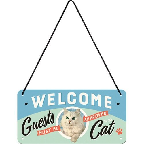 nostalgic art hanging sign welcome guests cat