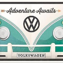 VW Bulli Adventure Awaits Metalen wandbord in reliëf 15 x 20 cm
