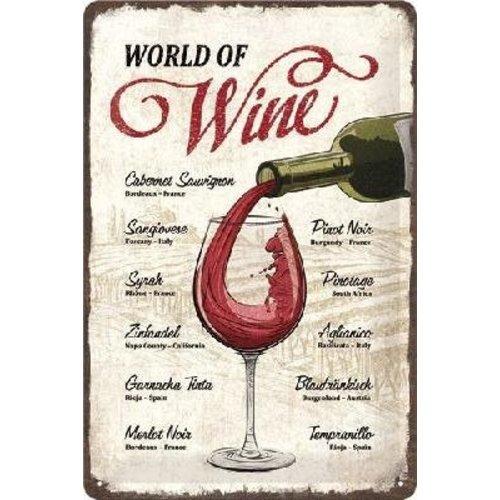 nostalgic art World of Wine Metalen wandbord in reliëf 20 x 30 cm.