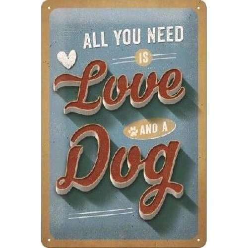 nostalgic art All You Need Is Love And A Dog Metalen wandbord in reliëf 20 x 30 cm