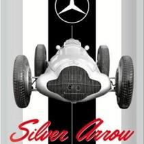 Mercedes benz silver arrow wandbord in reliëf 20 x 30 cm