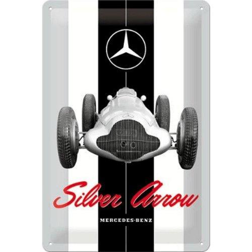 nostalgic art Mercedes benz silver arrow wandbord in reliëf 20 x 30 cm