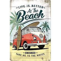 Life is better at the beach metalen wandbord in reliëf 20 x 30 cm