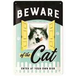 Beware of the cat metalen wandbord in reliëf 20 x 30 cm
