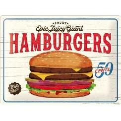 Hamburgers metal plate 40x30CM