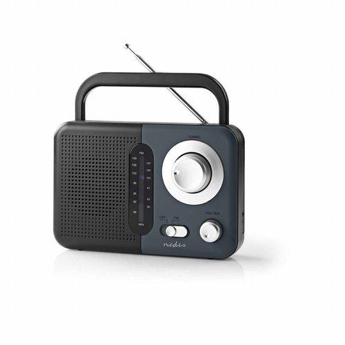 nedis Nedis FM-radio | 2,4 W | Draaggreep | Zwart / grijs