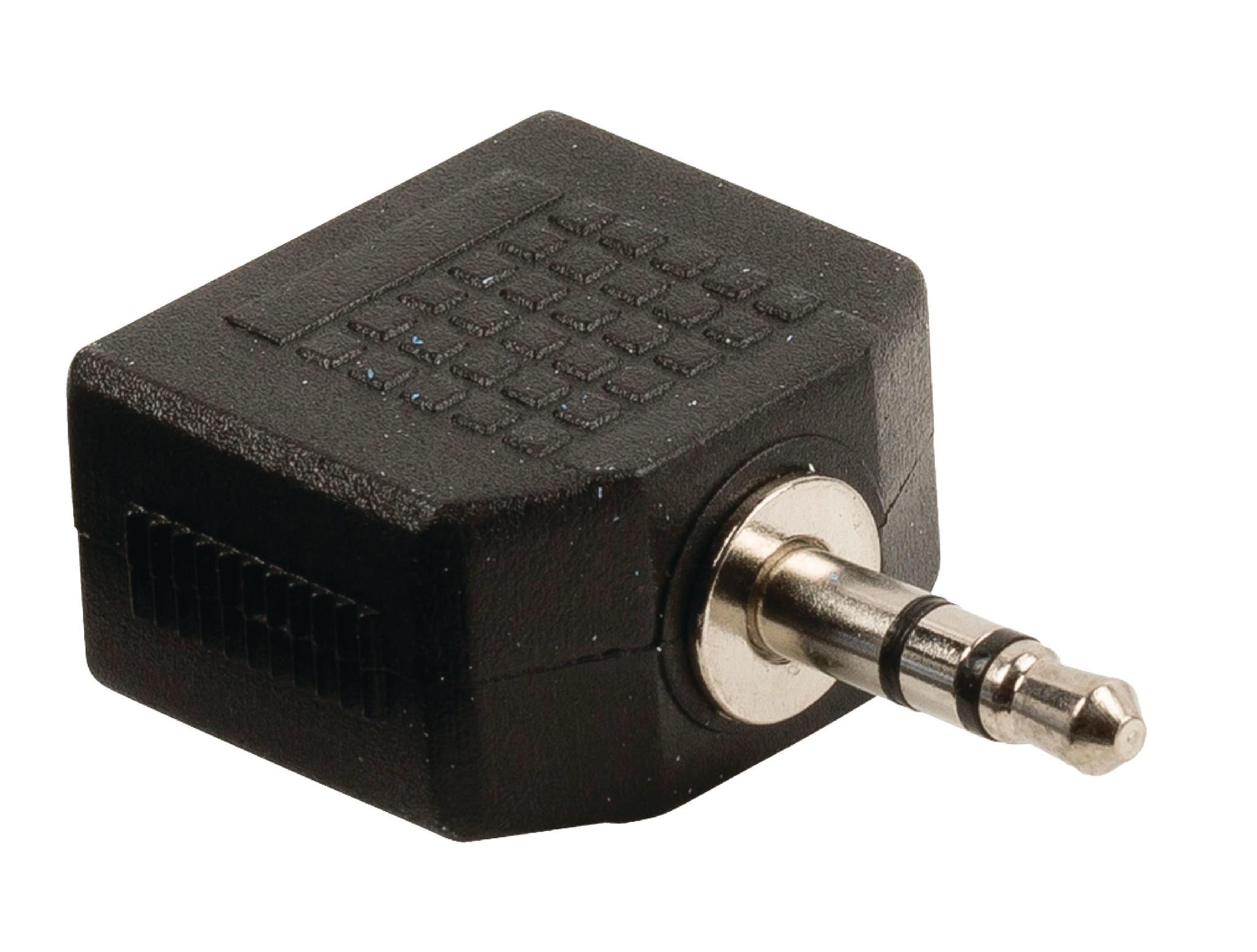 nedis Stereo-Audio-Adapter 3.5 mm Male - 2x 3.5 mm Female Zwart