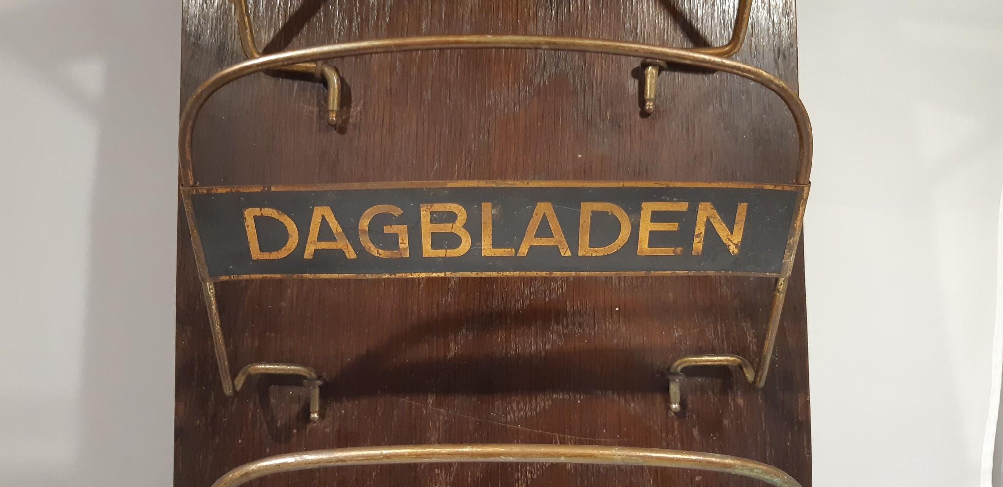 Vintage Houten/Metalen Lectuurbak Dagbladen klapper