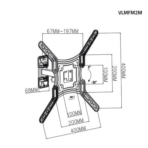 "Valueline Valueline TV Muurbeugel Draai- en Kantelbaar 23 - 55 "" 30 kg"