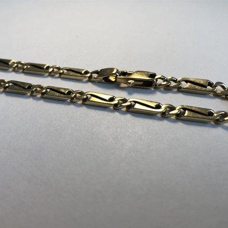 Platte schakel armband 14 krt