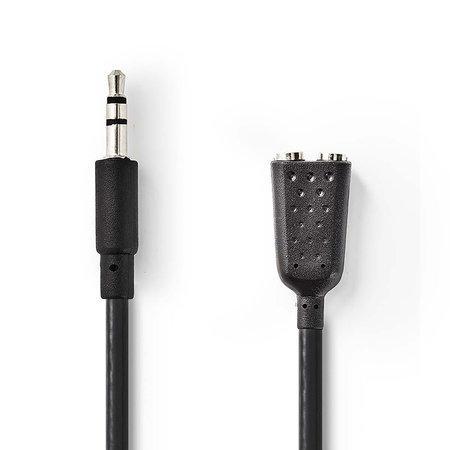 Nedis Stereo-Audiokabel | 3,5 mm Male - 2x 3,5 mm Female | 0,2 m | Zwart