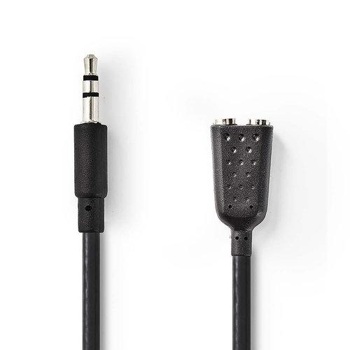 nedis Nedis Stereo-Audiokabel | 3,5 mm Male - 2x 3,5 mm Female | 0,2 m | Zwart