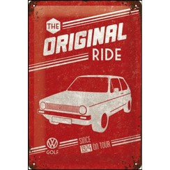 VW Golf - The Original Ride Metalen wandbord 20x30 cm
