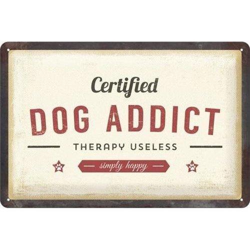 Nostalgic Art Merchandising Dog Addict Metalen wandbord in reliëf 20 x 30 cm.