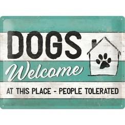 Wandbord - Dogs Welcome