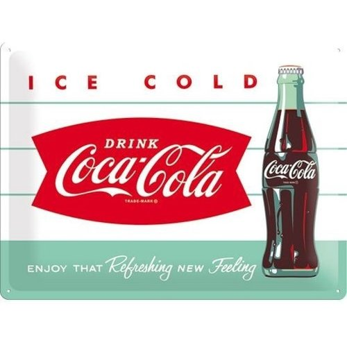 Nostalgic Art Merchandising Coca Cola- Ice cold, Retro reclame wandbord, 30x40cm