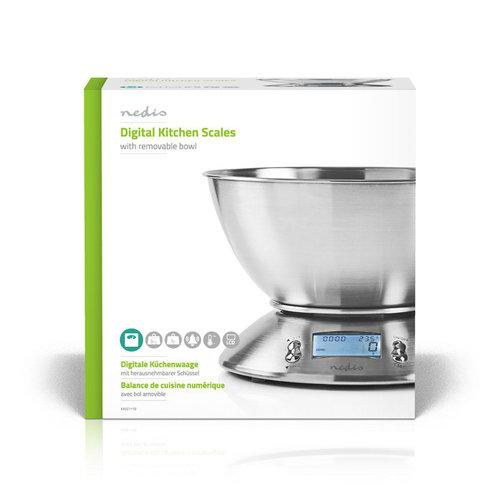nedis Digitale Keukenweegschaal | Temperatuur | Wekker | Metaal