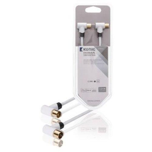 Konig Konig 120 dB Coaxkabel Haaks Coax Male (IEC) - Coax Female (IEC) 3.00 m Wit
