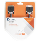 Konig DVI Kabel DVI-D 24+1-Pins Male - DVI-D 24+1-Pins Male 2.00 m Antraciet