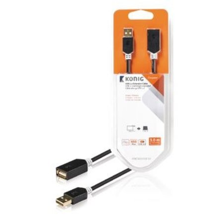Konig USB 2.0 Verlengkabel USB A Male - USB A Female Rond 3.00 m Antraciet