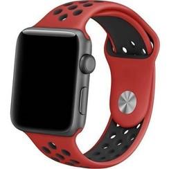 Siliconen Band Voor Apple Watch Series 1/2/3/4 42 MM - rood zwart