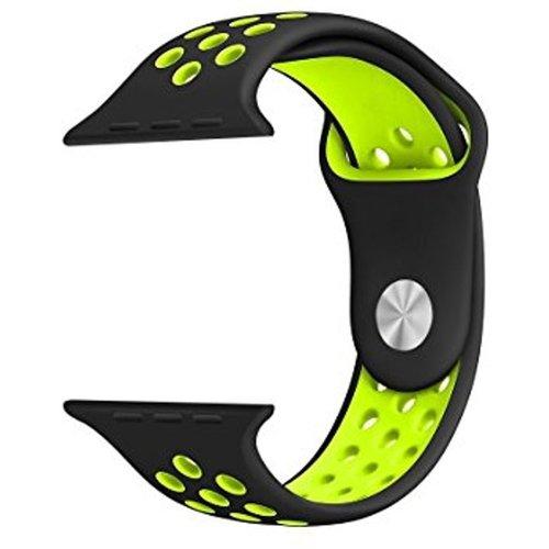 Siliconen Band Voor Apple Watch Series 1/2/3/4 38 MM - zwart/limegroen