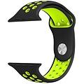 Siliconen Band Voor Apple Watch Series 1/2/3/4 42 MM - zwart/limegroen