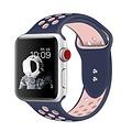 Siliconen Band Voor Apple Watch Series 1/2/3/4 42 MM - donkerblauw/roze