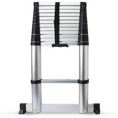 Telescopische ladder - 11 treeds - Met stabiliteitsbalk - Werkhoogte 3.80m