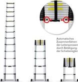 grafner Telescopische ladder - 11 treeds - Met stabiliteitsbalk - Werkhoogte 3.80m