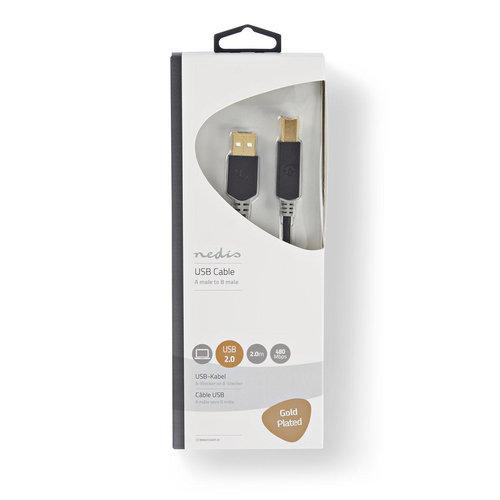 nedis Nedis Kabel USB 2.0 | A male - B male | 2,0 m | Antraciet