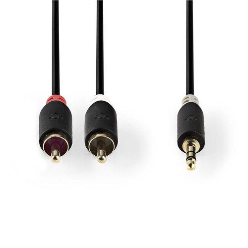 nedis Stereo audiokabel | 3,5 mm male - 2x RCA male | 3,0 m | Antraciet