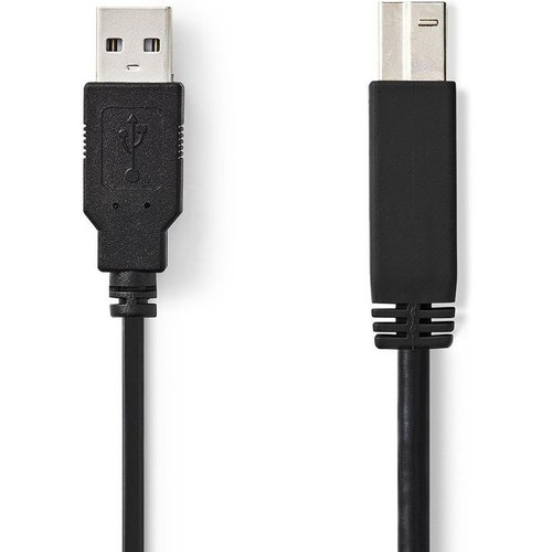 nedis Nedis USB 2.0 Cable A Male to B Male 2m Black CCGP60100BK20