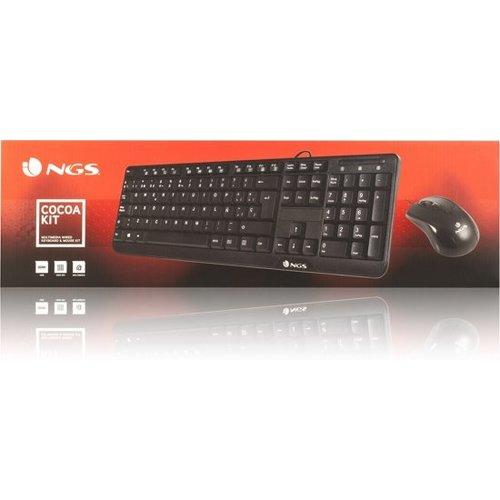 NGS NGS Cocoa Kit - Toetsenboord - Keyboard - bedraad- met muis -USB - QWERTY Zwart