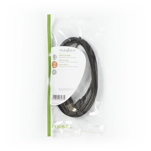 nedis USB 2.0-Kabel | A Male - Mini 5-Pins Male | 2,0 m | Zwart