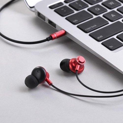 Hoco Hoco - in-ear koptelefoon oortjes - Earphones met microfoon en volumebesturing - Rood