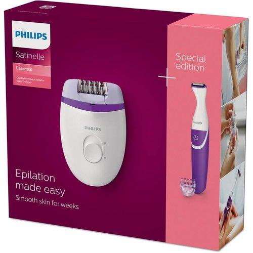 Philips Philips Satinelle Essential Compacte epilator met snoer inclusief bikinitrimmer