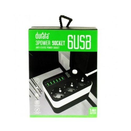 durata Durata - Oplaadhub - 3 x stopcontact - 6x USB
