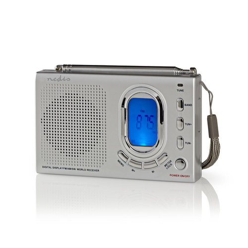 FM-radio | 1,5W | Wereldontvanger | Alarmfunctie | Grijs