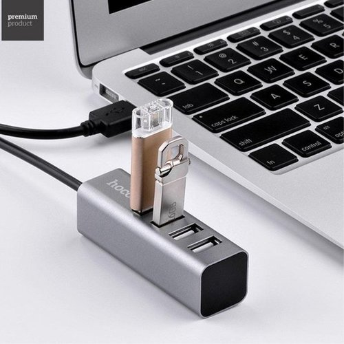 Hoco Hoco - USB 2.0 HUB 4 poorten Grijs