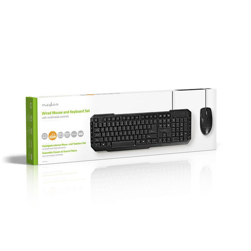 nedis Set bedrade muis en toetsenbord | 800-dpi muis | US International