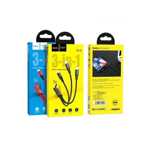 Hoco Hoco X14 3-in-1 Laadkabel 1m 2,4A Micro/USB-C/Apple Lightning
