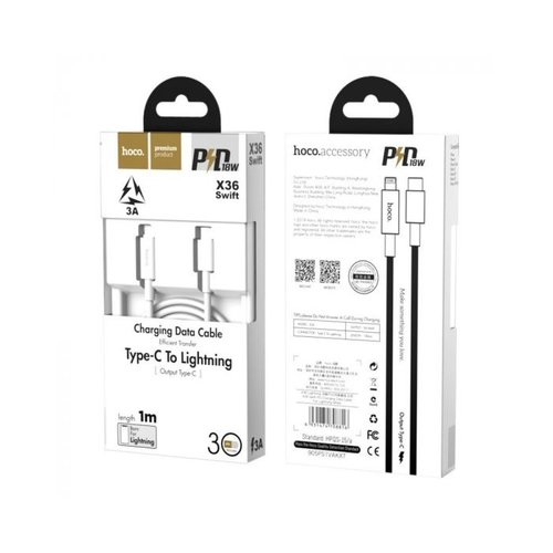Hoco HOCO X36 Swift - USB-C naar Lightning Kabel - Power Delivery - Voor iPhone 11 - 1 meter - Wit