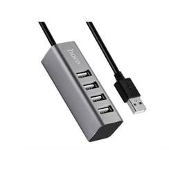 Hoco - USB 2.0 HUB 4 poorten Grijs