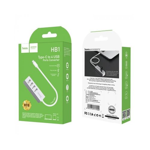 Hoco HOCO HB1 USB-C naar 4-Poort USB 2.0 Hub Zilver