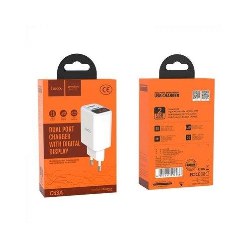 Hoco HOCO C63A Victoria USB Fast Charging Oplader Adapter - 2 Poorten - Digitaal Power Display - Wit